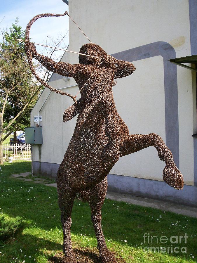 Wire Sculpture Sculpture - Centaur Warrior Wire Sculpture by Laszlo Komaromi