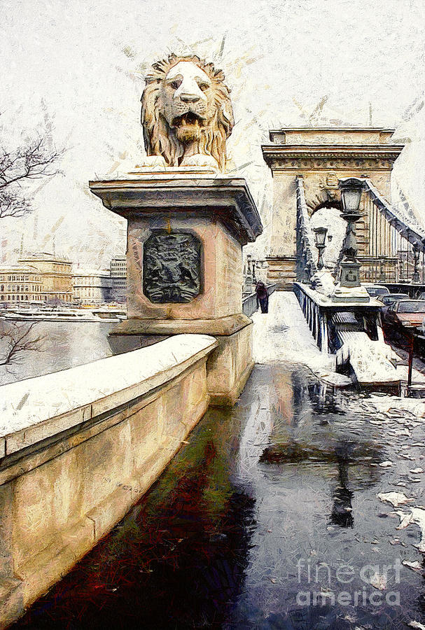 Architecture Painting - Chain Bridge In Budapest by Odon Czintos