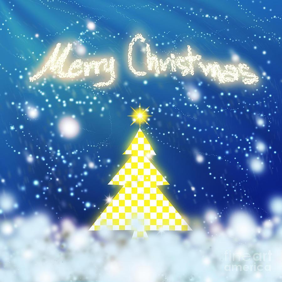 Backdrop Digital Art - Chess Style Christmas Tree 3 by Atiketta Sangasaeng