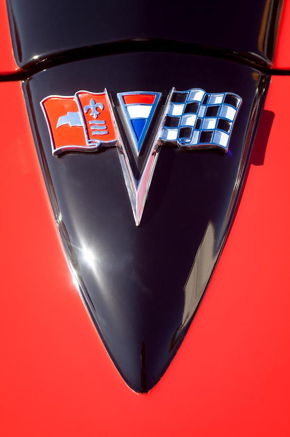 Chevy Emblem Photograph - Chevrolet Corvette Hood Emblem by Jill Reger