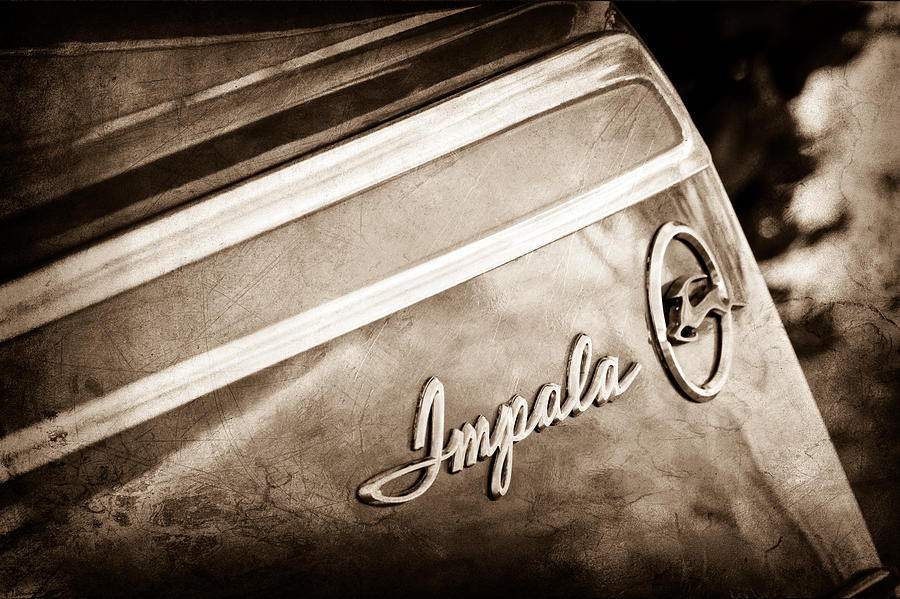 Old Cars Photograph - Chevrolet Impala Emblem by Jill Reger