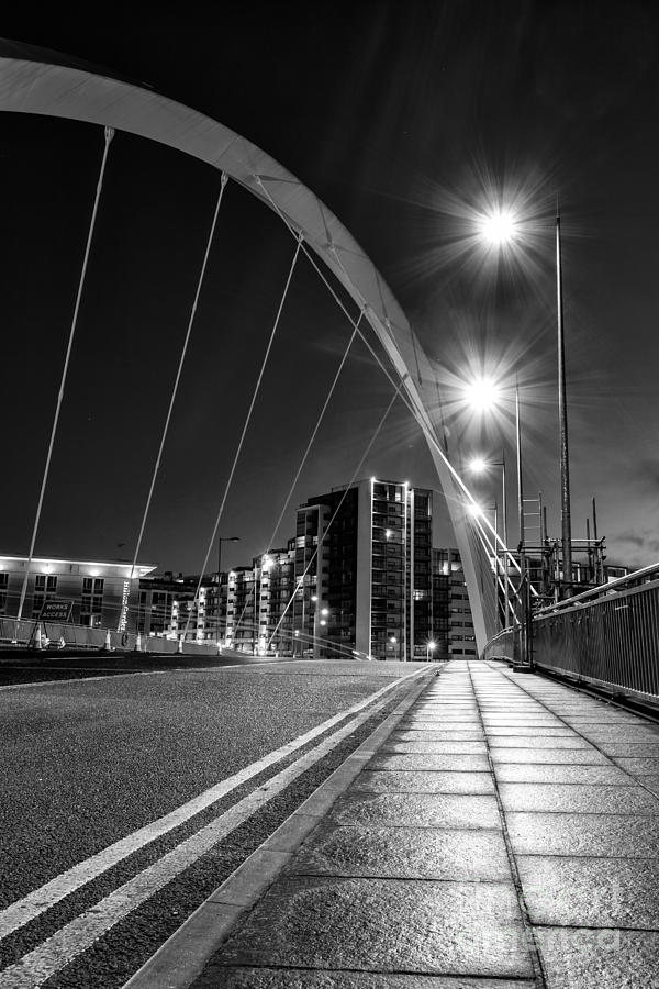 Black And White Photograph - Clyde Arc Squinty Bridge by John Farnan