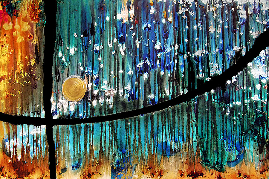 Blue Print Painting - Colorful Abstract by Sharon Cummings