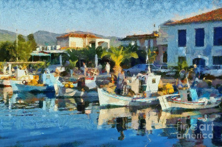 Colorful Port Painting by George Atsametakis