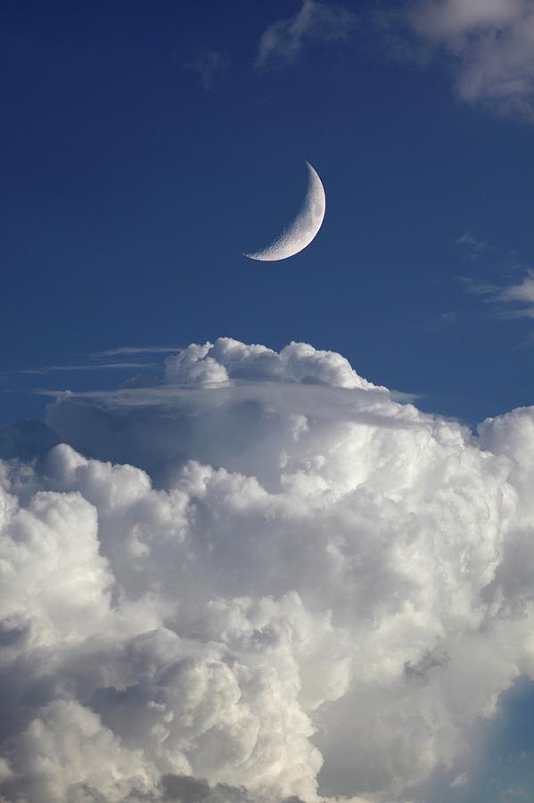 Nobody Photograph - Crescent Moon In Cloudy Sky by Detlev Van Ravenswaay