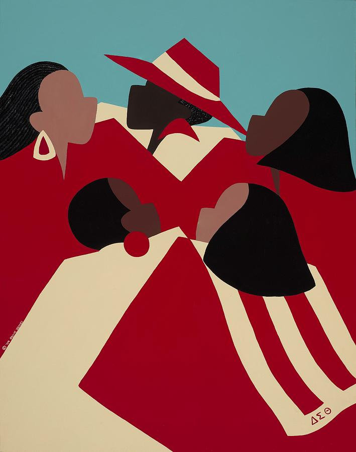 African American Painting - Crimson and Cream by Synthia SAINT JAMES