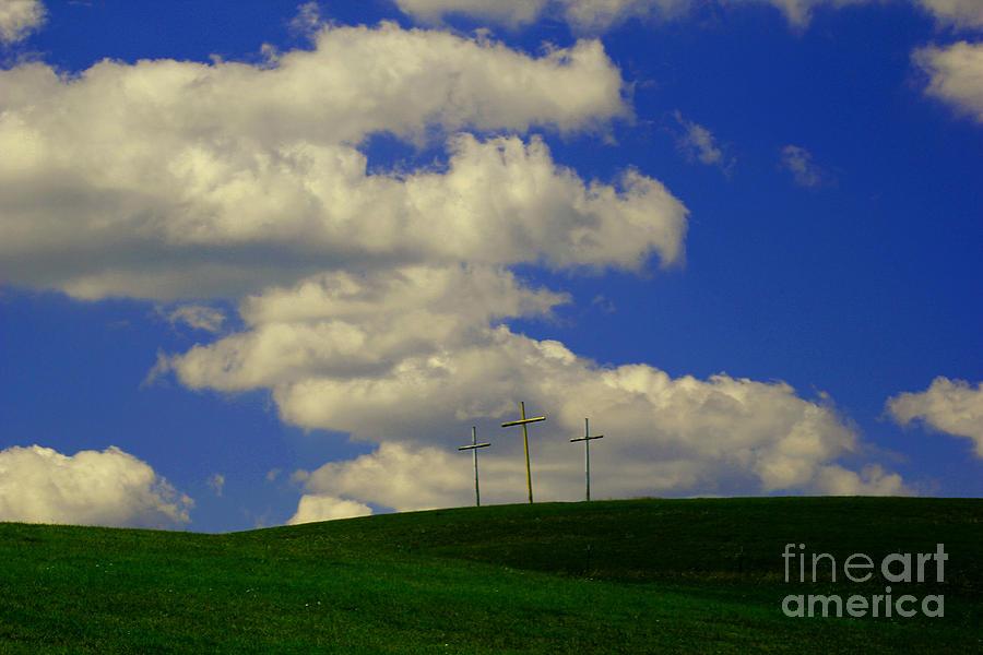 Three Crosses Photograph - 3 Cross Hill by Melissa Petrey