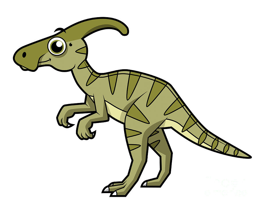 Cute Illustration Of A Parasaurolophus Digital Art By