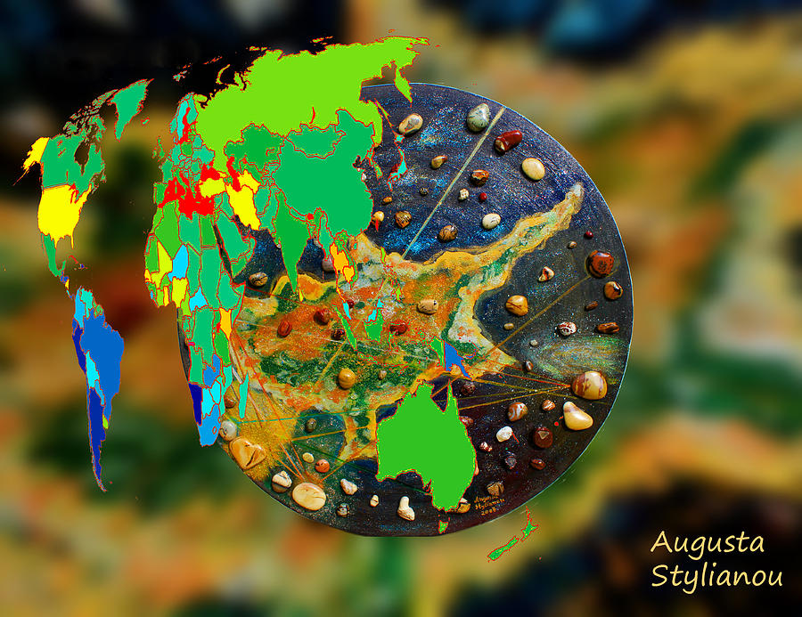 Continents Digital Art - World Map And Cyprus by Augusta Stylianou