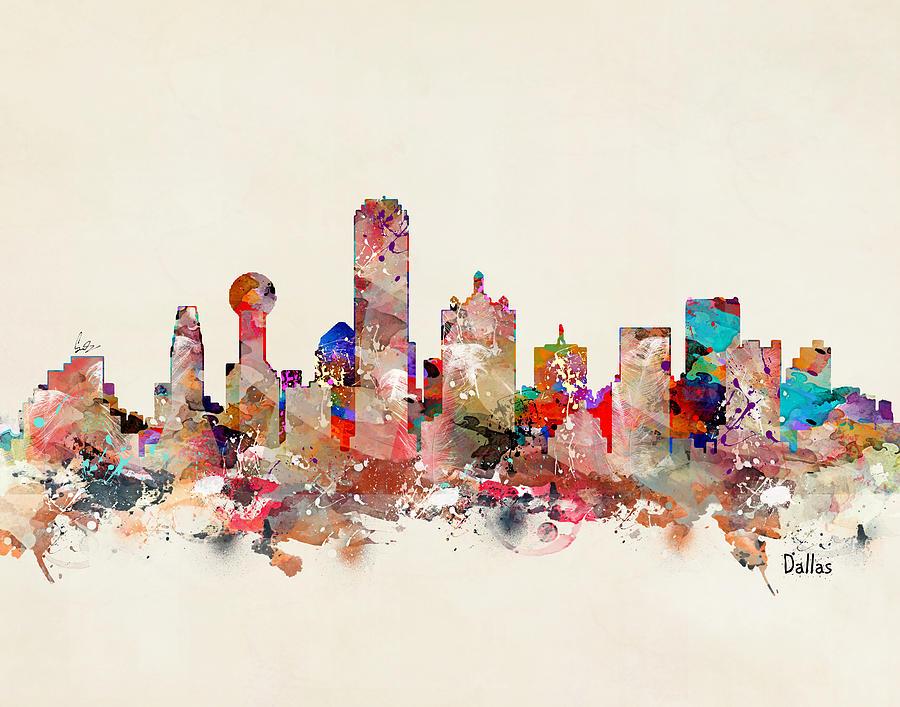 Dallas Texas Skyline Painting - Dallas Texas Skyline by Bri Buckley
