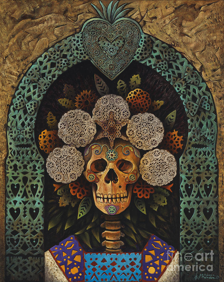 Day-of-the-dead Painting - Dia De Muertos Madonna by Ricardo Chavez-Mendez