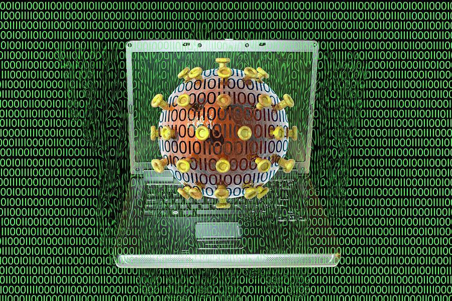 Virus Photograph - Digital Meltdown by Carol & Mike Werner