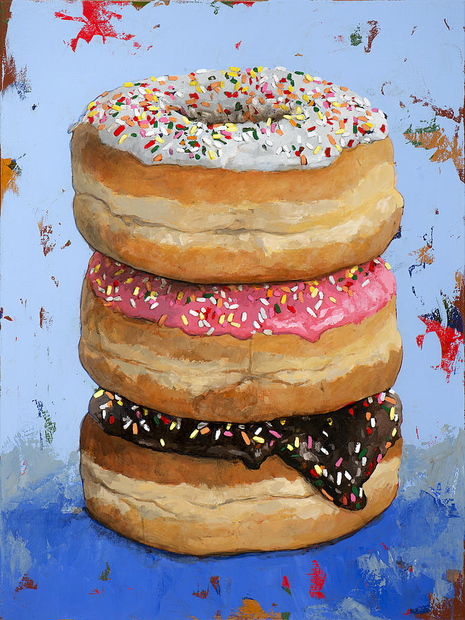 Donuts Painting - 3 Donuts #2 3 by David Palmer