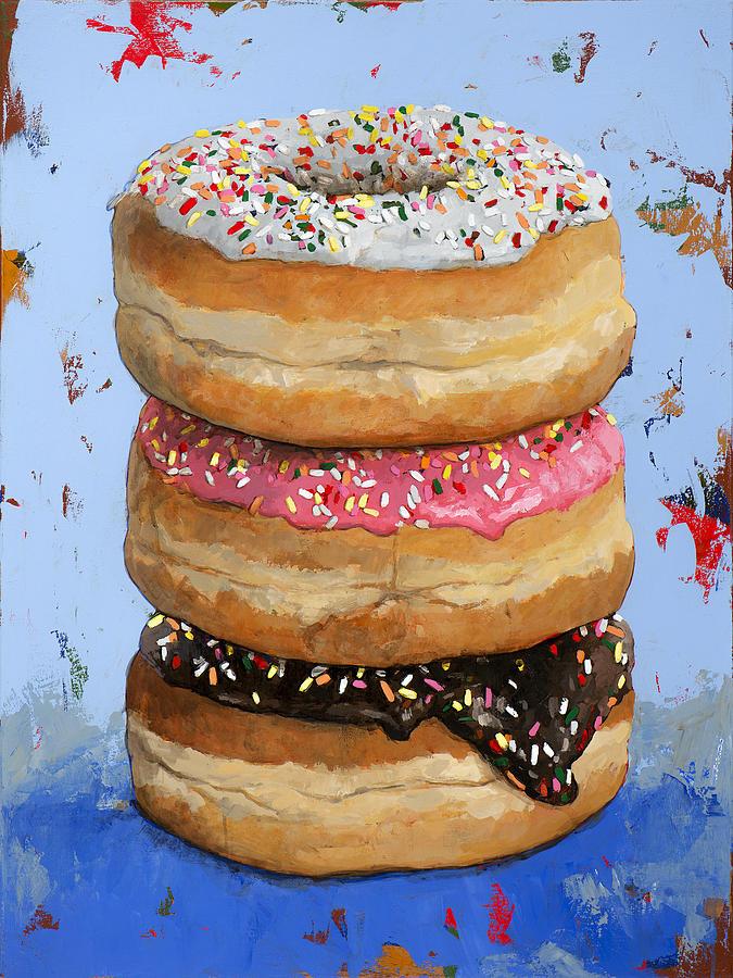 Donuts Painting - 3 Donuts #2 by David Palmer