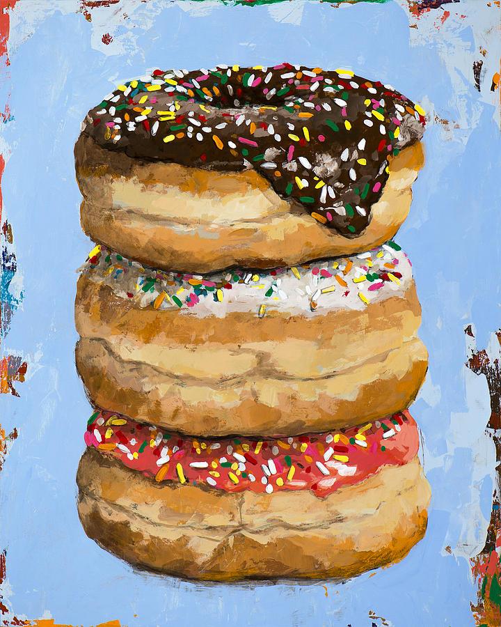 Donuts Painting - 3 Donuts 3 by David Palmer