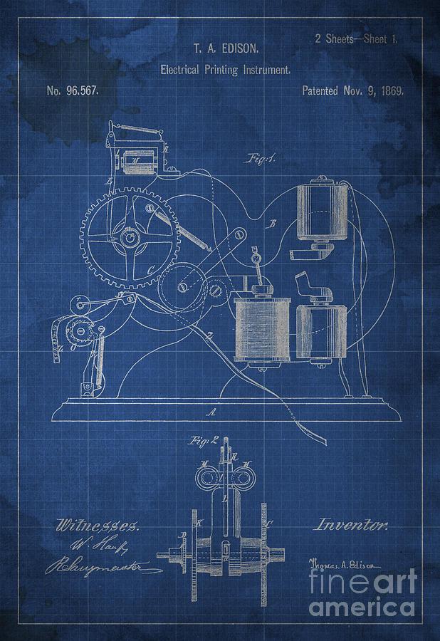 Edison electrical printing instrument blueprint digital art by edison digital art edison electrical printing instrument blueprint by drawspots illustrations malvernweather Images