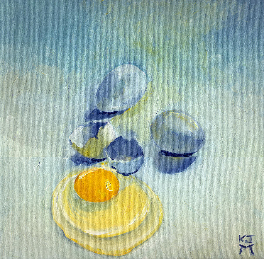 Eggs Painting - 3 Eggs On Blue by Katherine Miller
