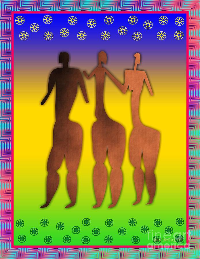 Figures Digital Art - 3 Sisters by Walter Neal