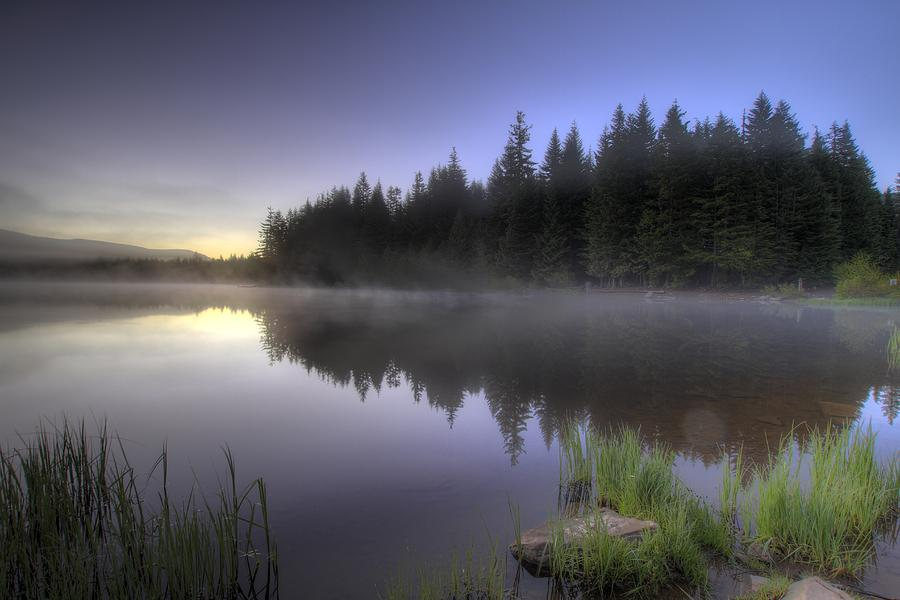Trillium Photograph - First Light At Trillium Lake With Reflection by David Gn