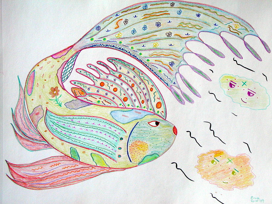 Plants Drawing - Fishstiqueart 2009 by Elmer Baez