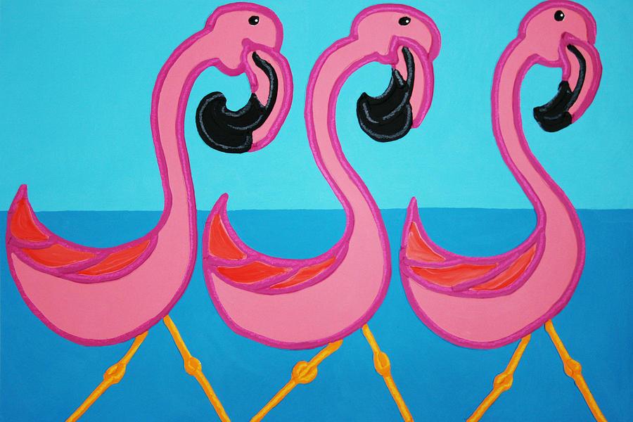 Flamingos Painting - 3 Flamingos  by Matthew Brzostoski