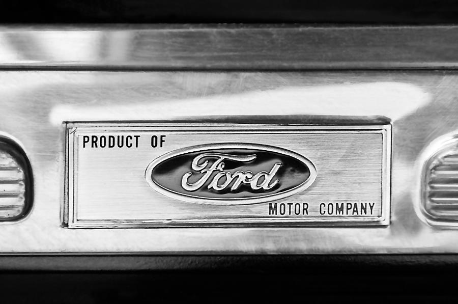 Powered By Ford Emblem Photograph - Powered By Ford Emblem -0307bw by Jill Reger
