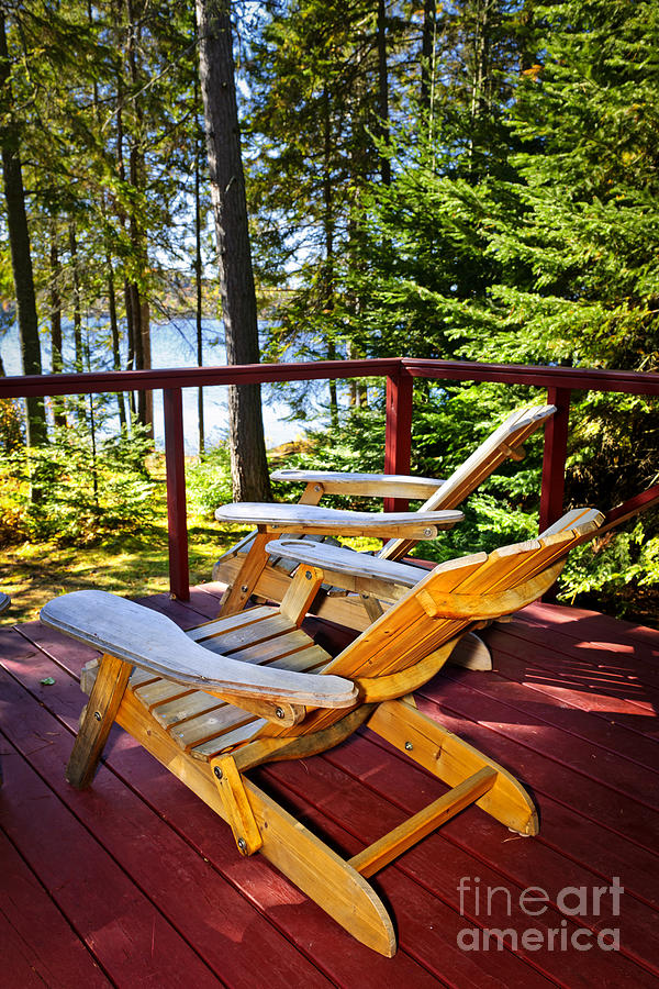 Deck Photograph - Forest Cottage Deck And Chairs by Elena Elisseeva