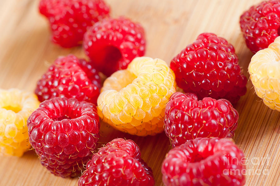 Fresh Golden And Red Raspberries Fruits Photograph