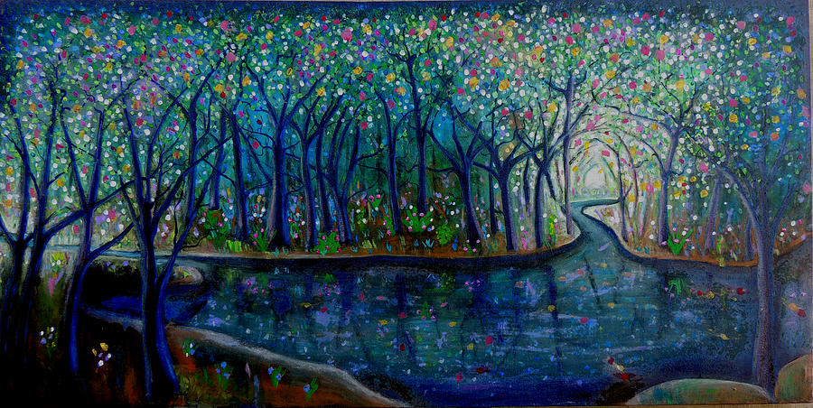 Abstract Painting - Glistening Forest Lake by Shirley Smith