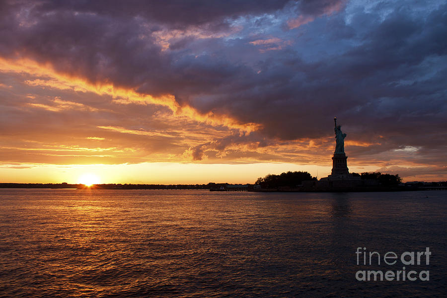 New York Sunset Photograph - Glorious Sunset Over New York by Shishir Sathe