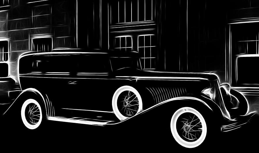 Old Oldtimer Classic Car Vehicle Black White 30 30s Golden Times Painting Painting - Golden Times by Steve K