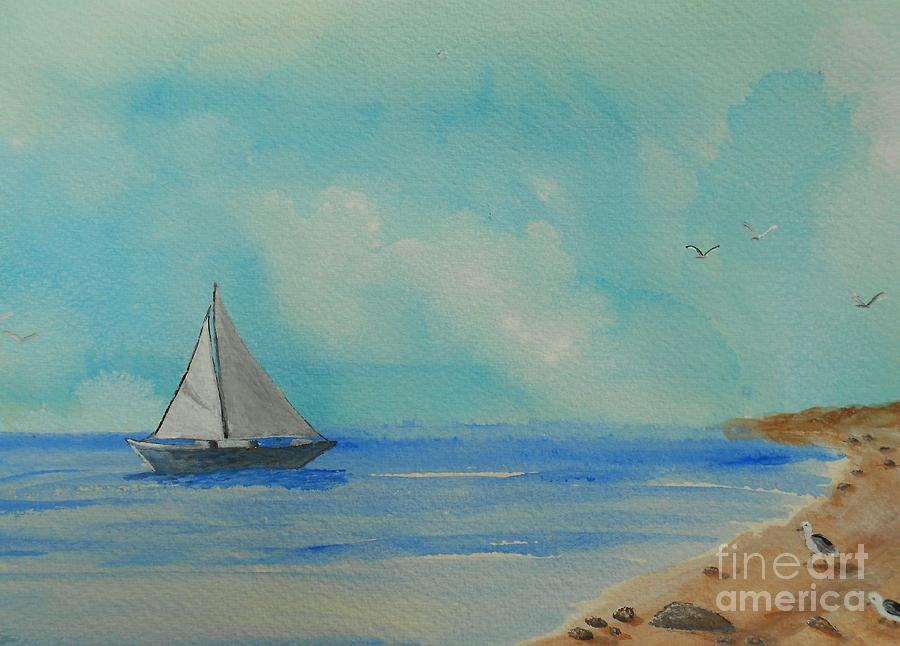 Beach Painting - He Leads Me Beside The Still Waters by Barbara McNeil