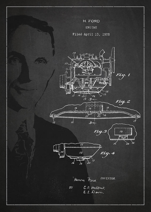 Henry Ford Drawing - Henry Ford Engine Patent Drawing From 1928 by Aged Pixel