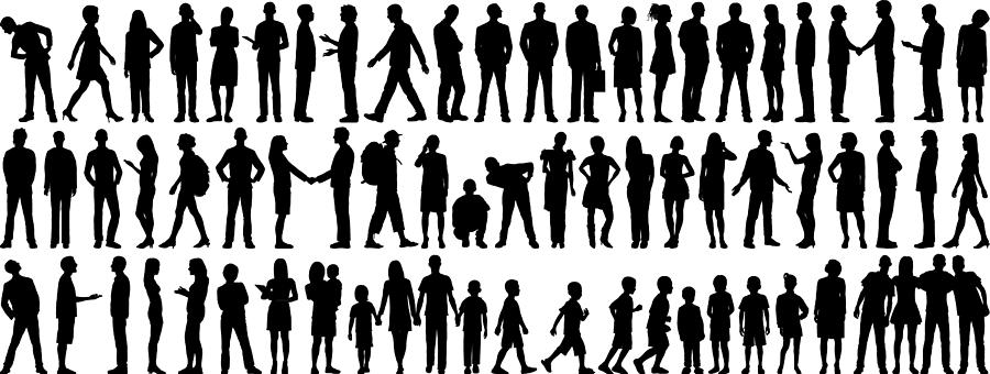 Highly Detailed People Silhouettes Drawing by Leontura