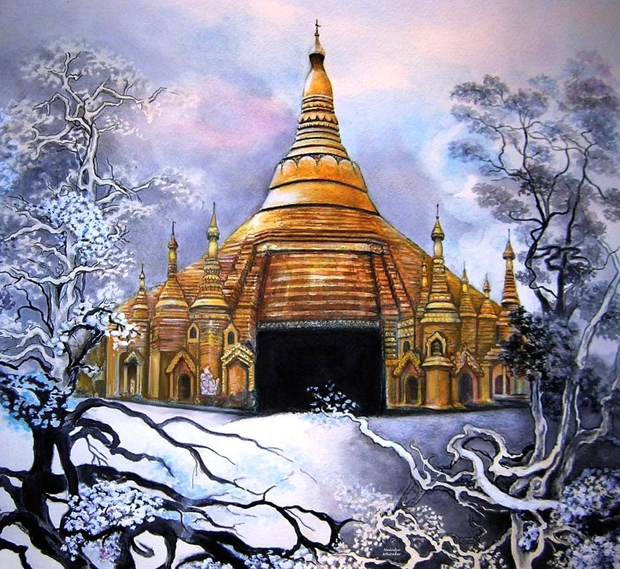 Pagoda Painting - Interpretive Illustration Of Shwedagon Pagoda by Melodye Whitaker
