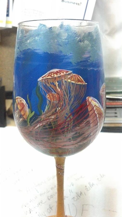 Deep Sea Animals Glass Art - Jellyfish On Glass by Dan Olszewski