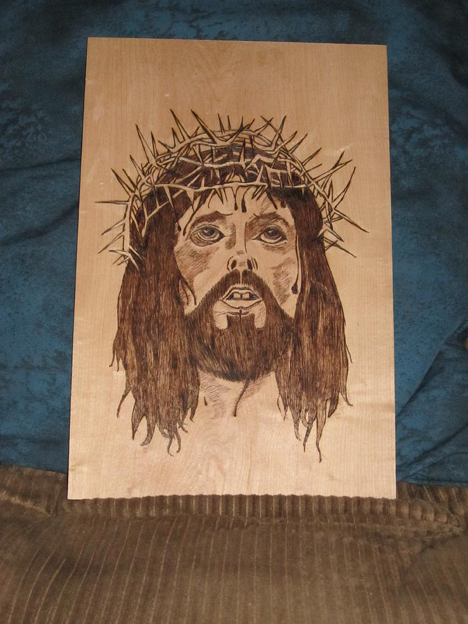 Portrait Pyrography - Jesus Crucifixion by N Gardner