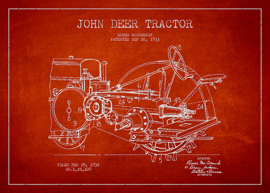 Tractor Digital Art - John Deer Tractor Patent Drawing From 1933 by Aged Pixel