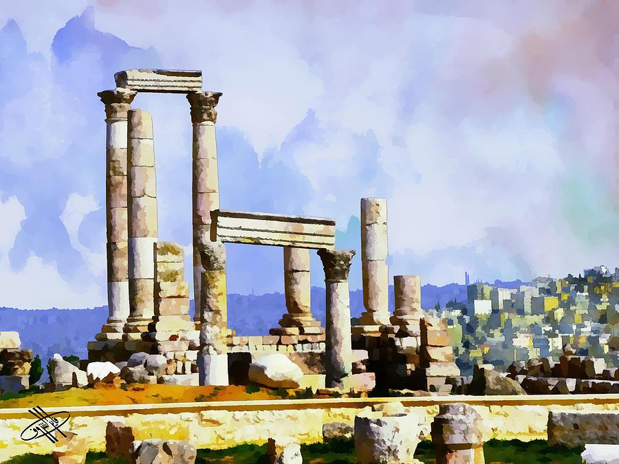 Jordan Digital Art - Jordan/amman/citadel by Fayez Alshrouf