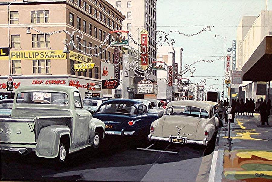 Sacramento Painting - K Street by Paul Guyer