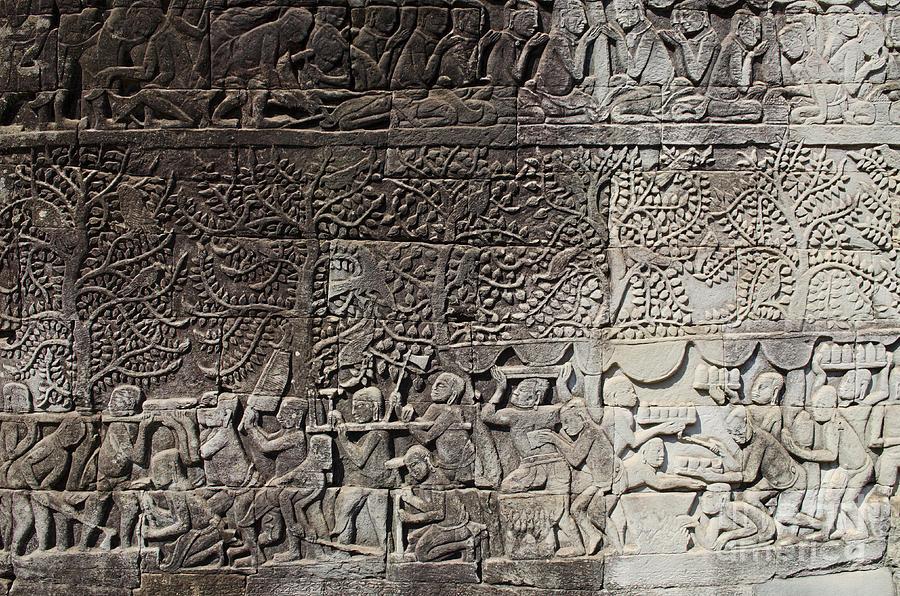 Khmer stone carvings angkor wat cambodia photograph by