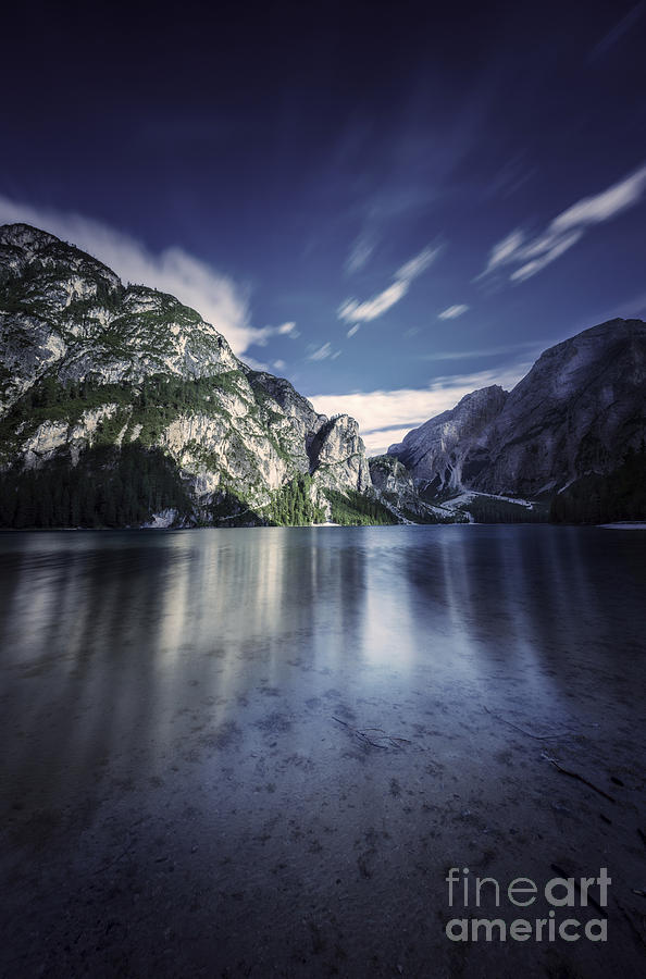 Vertical Photograph - Lake Braies And Dolomite Alps, Northern by Evgeny Kuklev