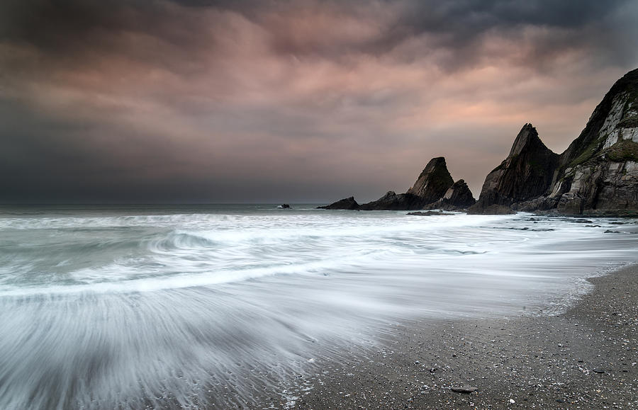 Landscape Photograph - Landscape Seascape Of Jagged And Rugged Rocks On Coastline With  by Matthew Gibson