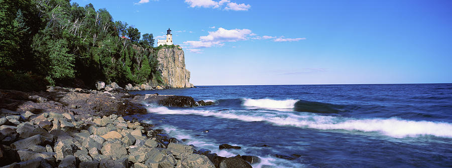 Horizontal Photograph - Lighthouse On A Cliff, Split Rock 3 by Panoramic Images
