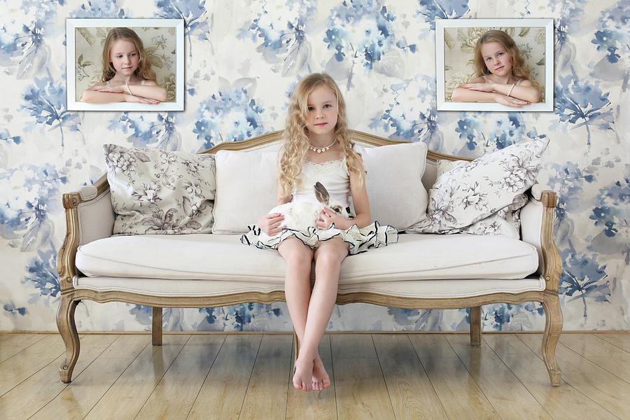 Rabbit Photograph - 3 Little Girls And A White Rabbit by Victoria Ivanova