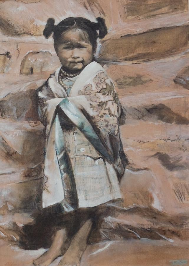 Hopi Painting - Little Hopi Girl by Terri Ana Stokes
