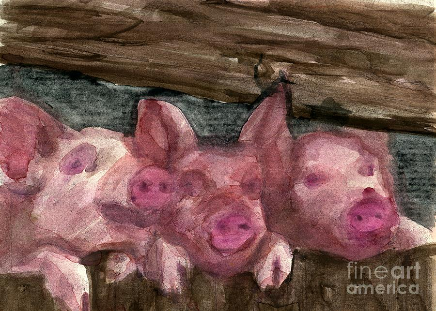 Pigs Painting - 3 Little Pigs by Sandra Stone
