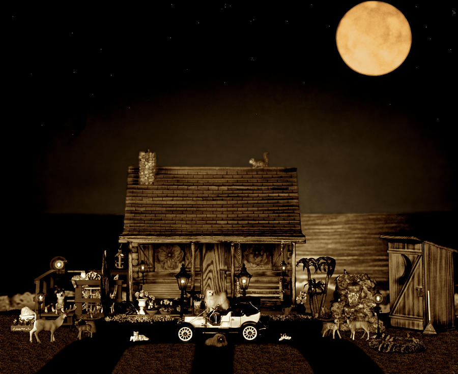 Log Cabin Photograph - Log Cabin Scene With Outhouse And The Old Vintage Classic 1908 Model T Ford In Sepia Color by Leslie Crotty