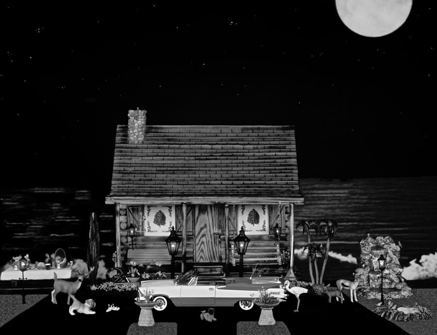 Miniature Log Cabin Photograph - Log Cabin Scene With The Classic Old Vintage 1959 Dodge Royal Convertible In Black And White by Leslie Crotty