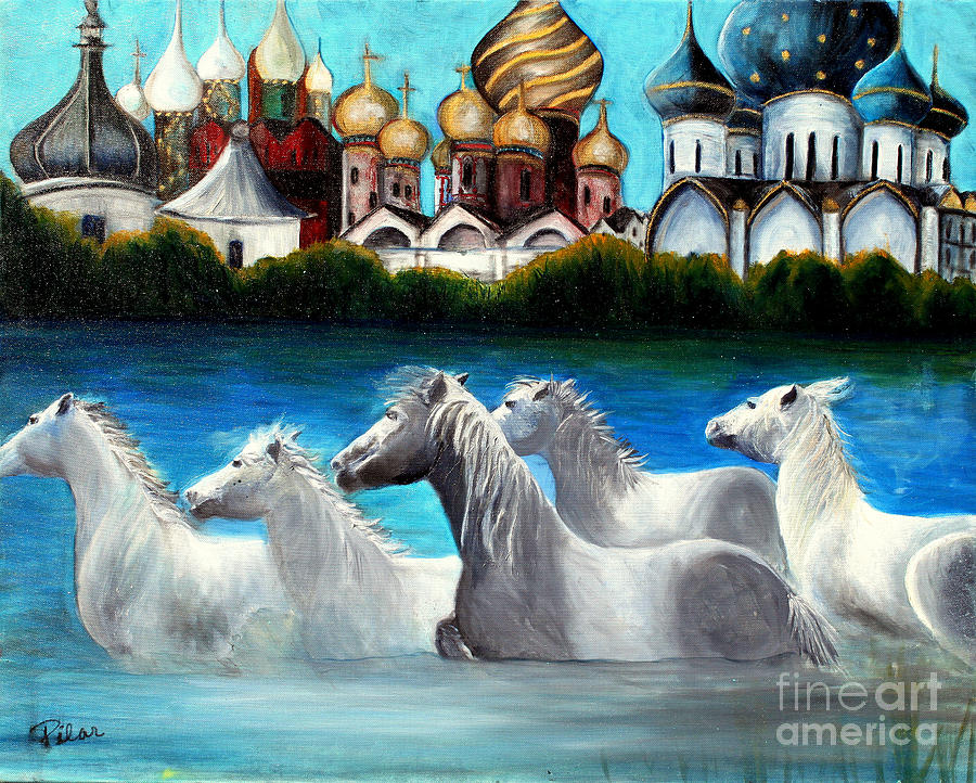 Magical Horses Painting by Pilar  Martinez-Byrne